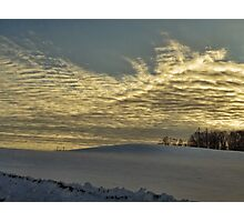 Evening clouds over the snow covered field Photographic Print