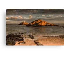 Sunset on Mumbles lighthouse Swansea Canvas Print