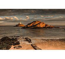 Sunset on Mumbles lighthouse Swansea Photographic Print