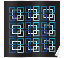 Squares In Blue Variations And White Poster