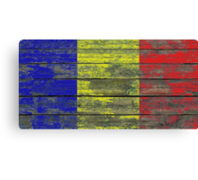 Flag of Romania on Rough Wood Boards Effect Canvas Print