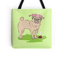 Pink Puggy Pug Dog girl with cute little bow Tote Bag