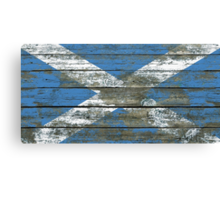 Flag of Scotland on Rough Wood Boards Effect Canvas Print