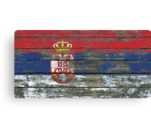 Flag of Serbia on Rough Wood Boards Effect Canvas Print