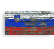 Flag of Slovenia on Rough Wood Boards Effect Canvas Print