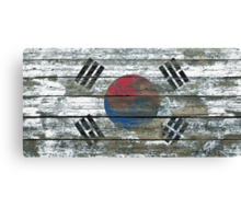 Flag of South Korea on Rough Wood Boards Effect Canvas Print