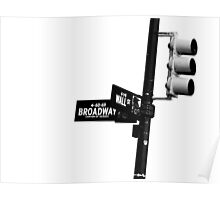 Cnr of Wall st and Broadway (Black and White) Poster
