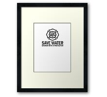 Save Water - Shower With A Firefighter Framed Print