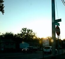 Sunset At The Stop Sign by Erin Williams