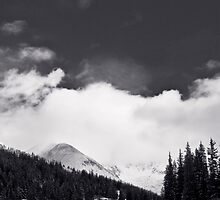 Moon over Mayflower Gulch Black and White by Paul Gana