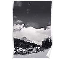 Moon over Mayflower Gulch Black and White Poster