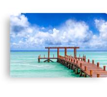 A Beautiful Caribbean Sea Pier In Playa del Carmen Canvas Print