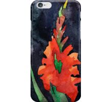 watercolor drawing of red gladiolus iPhone Case/Skin