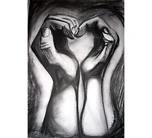 Two Hands/One Heart - charcoal Photographic Print