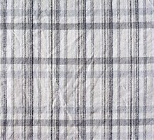 Gray checked creased cotton cloth by Arletta Cwalina