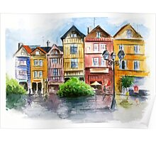 Watercolor in town Poster