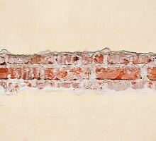 Red bricks broken wall by Arletta Cwalina