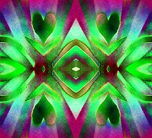 Green Hearted Solarized Ribbons by BethofArt