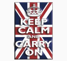 Keep Calm & Carry On, Union Jack Flag, Blighty, UK, Be British! Kids Clothes