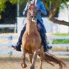 Impasto-stylized photo of a woman equestrian riding horse in show arena by NaturaLight