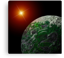 Bright Moon and Planet Canvas Print