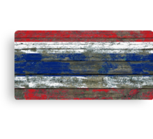 Flag of Thailand on Rough Wood Boards Effect Canvas Print