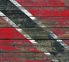 Flag of Trinidad and Tobago on Rough Wood Boards Effect by Jeff Bartels