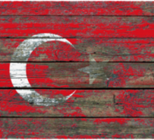 Flag of Turkey on Rough Wood Boards Effect Sticker