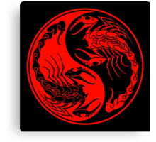 Red and Black Scorpions Yin Yang  Canvas Print