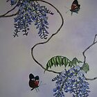 Spring flowering Wisteria and Butterflies by Philip Holley