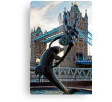 Girl with a Dolfin at Tower Bridge, London, England Canvas Print