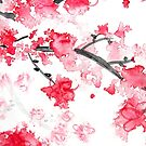 Cherry Blossoms Triptych II by Kathie Nichols