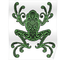 Intricate Green and Black Tree Frog Poster