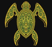 Intricate Green and Yellow Sea Turtle Kids Clothes