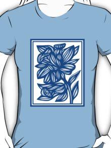 Maymon Daffodil Flowers Blue White T-Shirt
