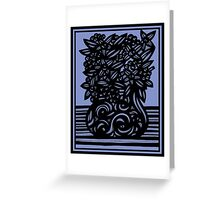 Armon Flowers Blue Black Greeting Card