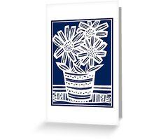 Perrett Flowers Blue White Greeting Card