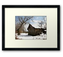 A Winter Scene in Barda, Romania Framed Print