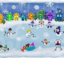 Snowy Night Frozen Fun  by Jamie Wogan Edwards