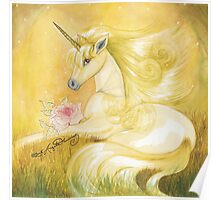 Unicorn In Golden Dusk Poster