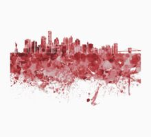 New York skyline in red watercolor on white background Kids Clothes