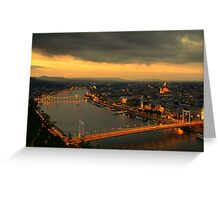 Budapest Night Time Sunset Greeting Card