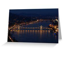 Night-Lit Chain Bridge, Budapest Greeting Card