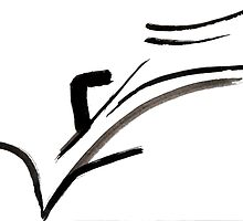 Abstract Calligraphy Design, Black and White Contemporary Art by ShiningEyeArts