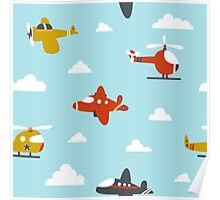 Planes And Helicopters In The Sky Poster