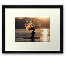 Carefree in the sun and sea Framed Print