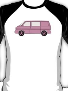 VW T4 Surf Bus Pink T Shirt T-Shirt