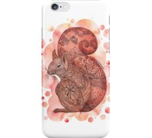 Zentangle Red Squirrel with Bubble Background iPhone Case/Skin
