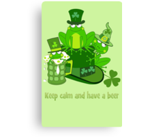 Funny St Patrick's day frogs, shamrocks, beer & text Canvas Print