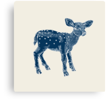 Dear Deer Indigo on Vanilla Canvas Print